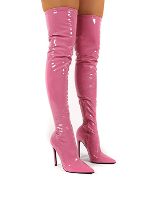 Confidence Pink Patent Stiletto Heeled Over The Knee PU Boots