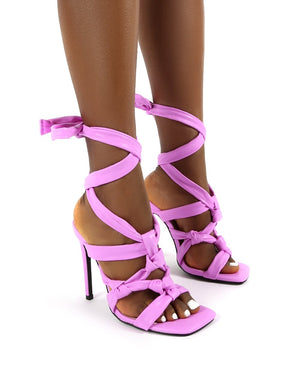 Convo Pink Wide Fit Neoprene Knotted Lace Up Stiletto High Heels