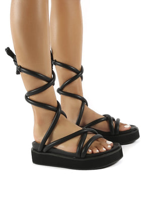 Jolly Black PU Weaved Ankle Strap Detail Chunky Sandals