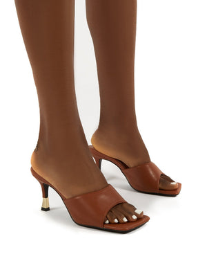 Vogue Tan Gold Heel Detail Square Toe Mules Sandals