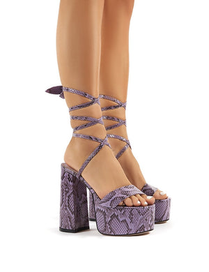 Brave Lilac Snakeskin Platform Lace Up Block High Heels