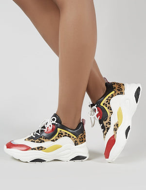 Pounce Chunky Trainers in Colourblock and Leopard Print