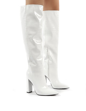 Indigo White Croc Block Heeled Knee High Boots