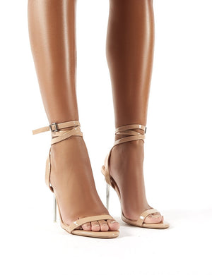 Relish Nude Patent Lace Up Perspex Stiletto Heels