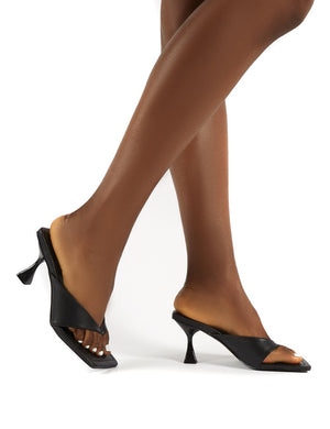 Harlie Black Toe Post Square Toe Heeled Mules