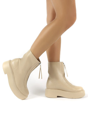 Leoni Taupe Chunky Sole Zip Through Ankle Boot