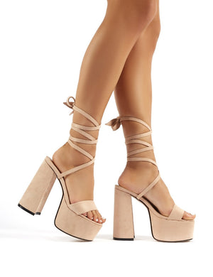 Brave Nude Faux Suede Platform Lace Up Block High Heels