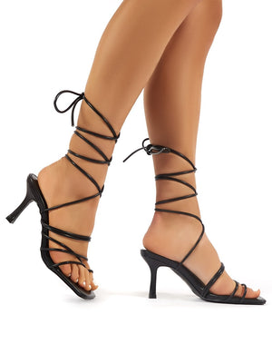 Cabo Black Strappy Lace Up Square Toe Heels