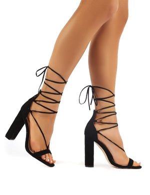 Frankie Black Suede Lace Up Block High Heels