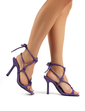 Luna Purple Strappy Knotted Stiletto High Heels