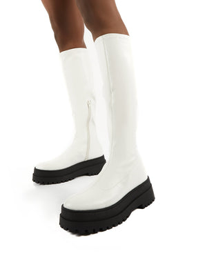 Haunt White PU Knee High Chunky Sole Boots