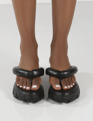 State Black Chunky Sole Thong Strap Sandals
