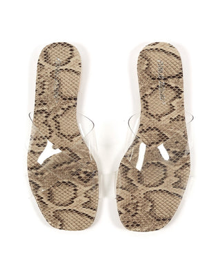 Harmony Natural Snakeskin and Perspex Flat Sandals