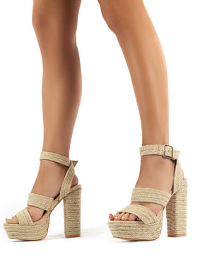 Jetset Natural Strappy Platform Raffia Block High Heels