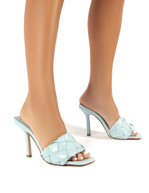 Leila Light Blue Woven Square Toe Heeled Mules