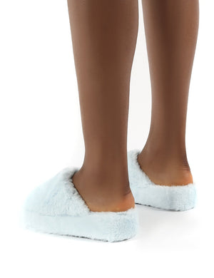Snoozie Blue Faux Fur Chunky Platform Sole Sliders
