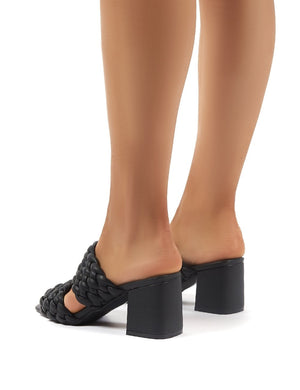 Chelsee Black PU Block Heeled Mules