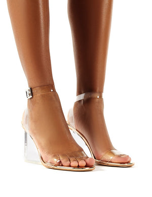 Lati Rose Gold Perspex Wedge Barely Theres