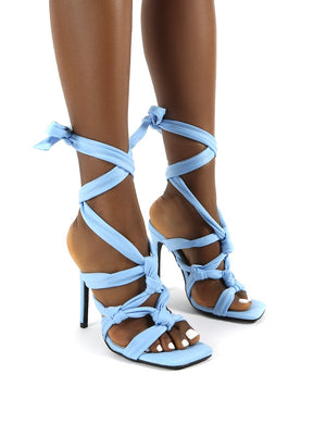 Convo Light Blue Knotted Lace Up Stiletto High Heels