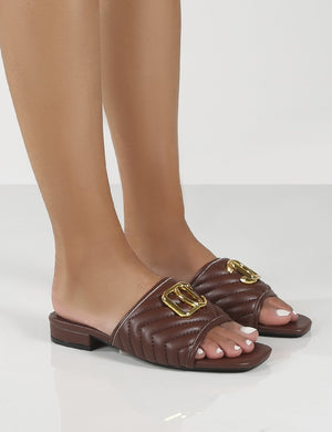 Harrie Choc Padded Metal Detail Flat Strappy Sandals