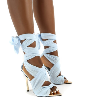 Huni Blue Wide FIt Ribbon Tie Up Gold Stiletto Heels