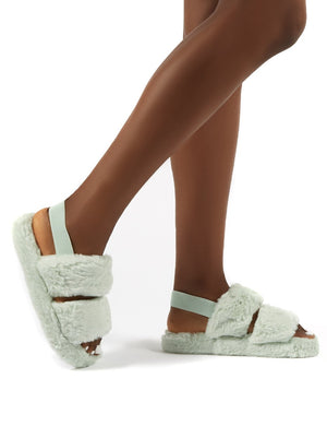Lullaby Mint Fluffy Strap Back Slippers