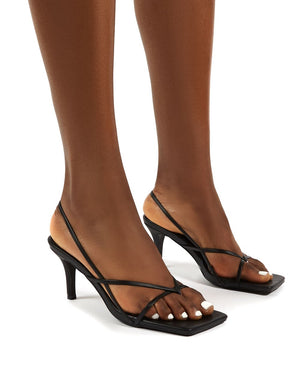 Mika Black Strappy Mid Height Kitten Heels