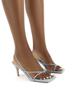 Mika Blue Pu Wide Fit Square Toe Strappy Mid Heels