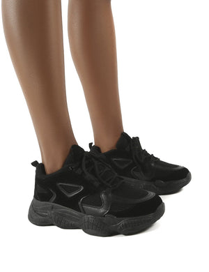 Chase Black Wide Fit Chunky Sole Trainers