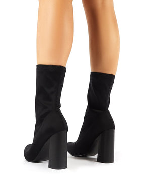 Libby Flared Heel Sock Fit Ankle Boots in Black Stretch