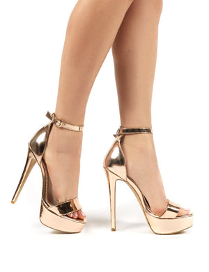 Flyin Rose Gold Mirror PU Heels