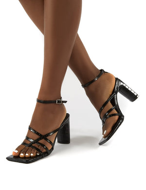 Charms Black Croc Wide Fit Square Toe Strappy Detail Heels