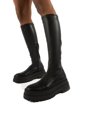 Haunt Black PU Knee High Chunky Sole Boots