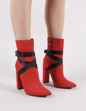 Drift Sports Luxe Ankle Boots in Red