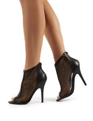 Spaced Black Mesh Peeptoe Stiletto Heeled Ankle Boots