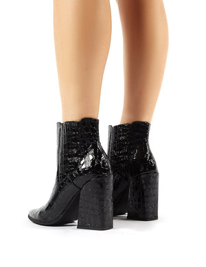 Brianna Black Patent Croc Block Heeled Pointed Ankle Boots