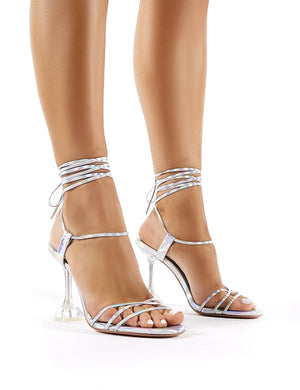 Jen Silver Iridescent Lace Up Perspex Heels