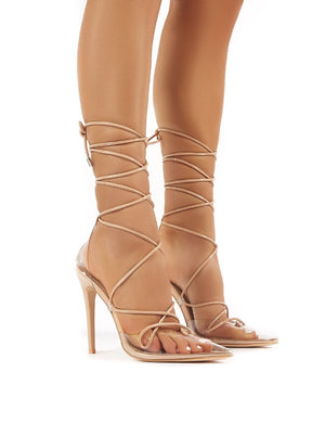 Carmen Nude and Perspex Lace Up Stiletto High Heels