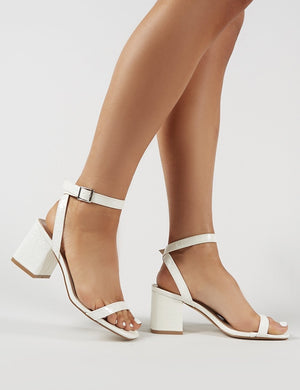 Celine Block Heel Barely Theres in White Croc