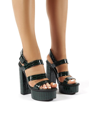 Gracie Forest Green Croc Platform Block Heels
