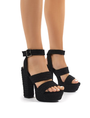 Jetset Black Strappy Platform Raffia Block High Heels