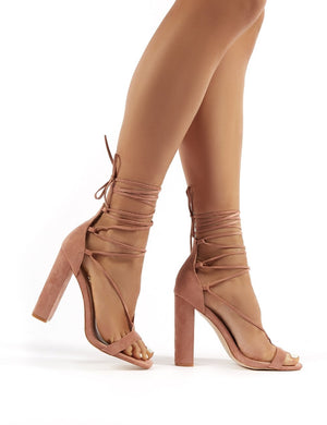 Frankie Wide Fit Nude Suede Lace Up Block High Heels