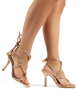 Luna Rose Gold Strappy Knotted Stiletto High Heels