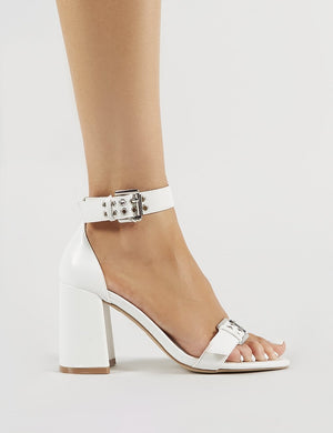 Thunder Block Heels in White PU