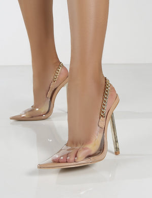 Blair Nude Chain Detail Sling Back Stiletto Heels