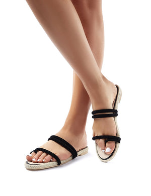 Kady Black Faux Suede Espadrille Slider Sandals