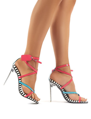 Kisses Colourblock Patent Perspex Stiletto High Heels