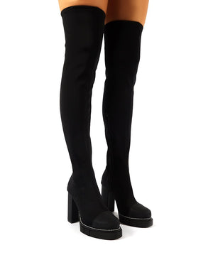 Critic Black Block Heeled Platform Over the Knee Boots