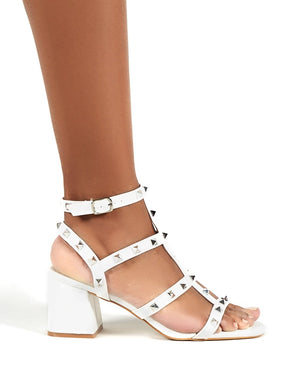 Always Wide Fit White Studded Strappy Block Mid Heels