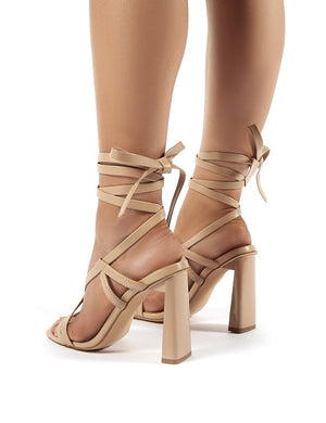 Atlanta Nude PU Lace Up Block High Heels